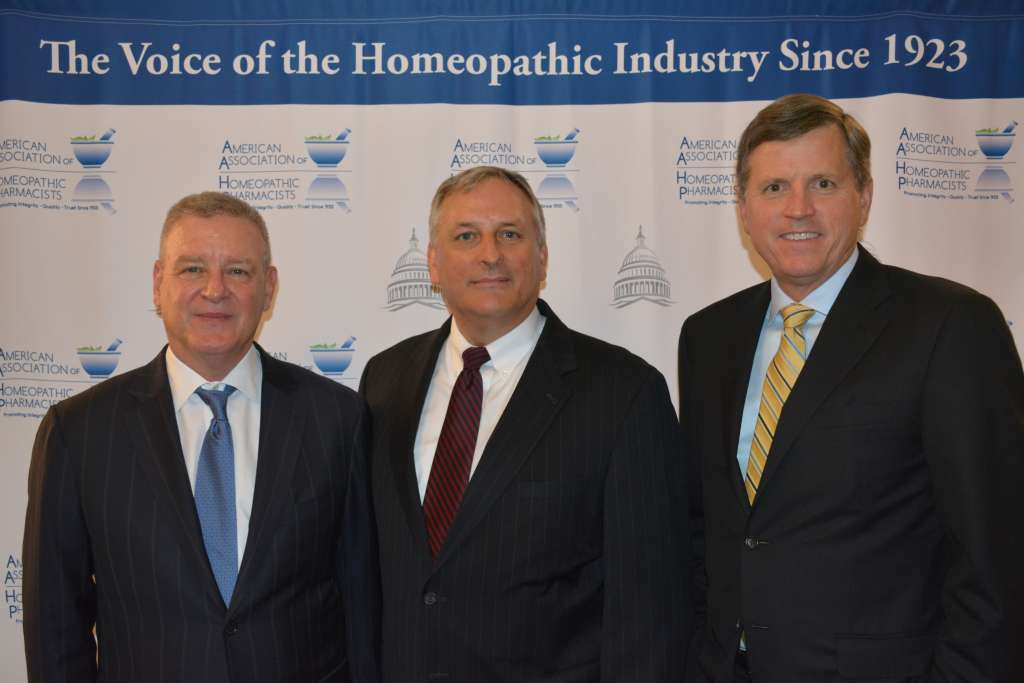 Scott Emerson of the Emerson Group, AAHP President Mark Land, and Scott Melville of the Consumer Healthcare Products Association.